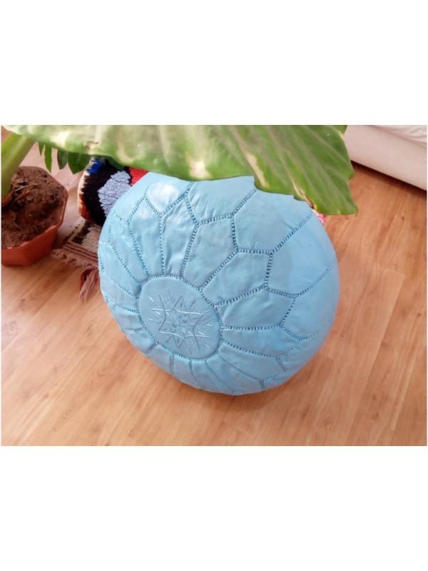 Moroccan POUF  Leather  - Light Blue  -  Unstuffed pouf