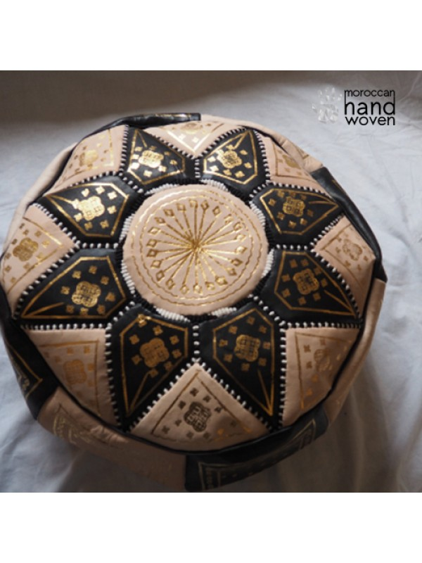 Black, Gold and Natural Leather Pouf