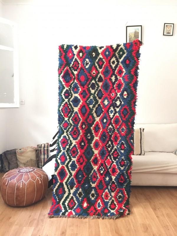 Vintage Moroccan Boucherouite (Boucheroute) Rug - Authentic rugs - Natural Wool - 197x86