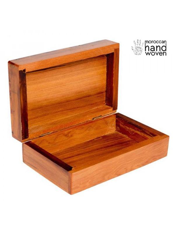 Inlaid Cross-hatch Moroccan Thuya Wood Keepsake Box