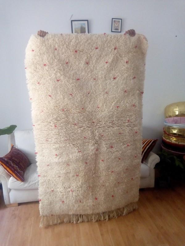 Dotted Beni Ouarain 195X115 CM - Red dots Berber Carpet - Full Wool