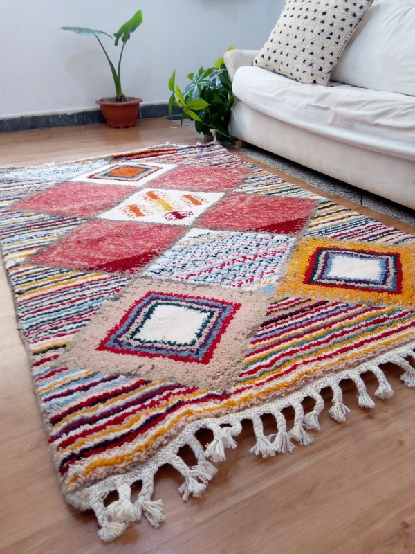 Moroccan Hand Woven Rug - Beni Ourain Style - Colored Pattern Carpet  - Wool - 180 X 120cm