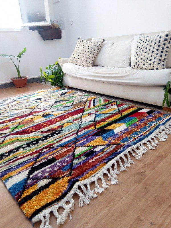 Moroccan Hand Woven Rug - Beni Ourain Style - Colored Pattern Carpet  - Wool - 200 X 150cm