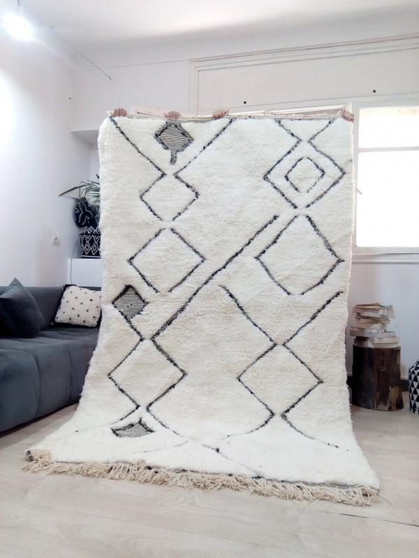 Handwoven Beni Ourain - Area Rug - Art Design -berber carpets  - full Wool - 246 X 153cm