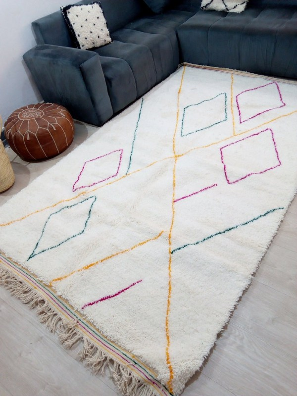 Moroccan Hand Woven Rug - Beni Ourain Style - Colored Pattern Carpet  - Wool - 270 X 165cm