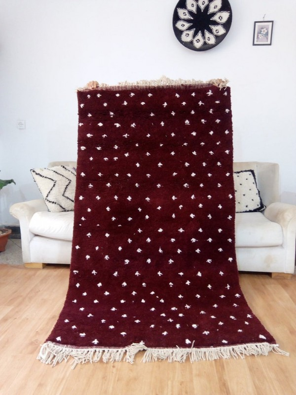 Moroccan Hand Woven Rug - Beni Ourain Style - Dot Pattern Carpet  - Wool - 195 X 106cm