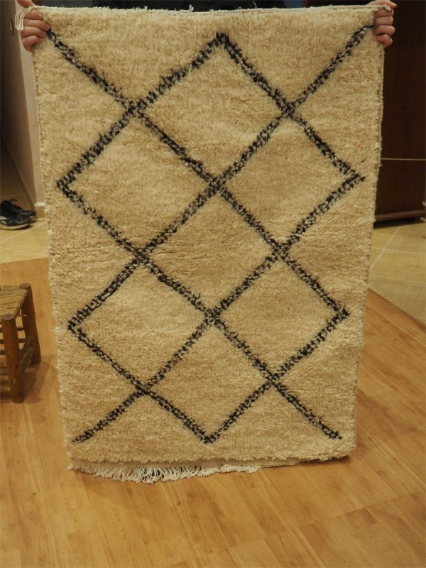 Hand-Woven  Beni Ourain Area Rug (small)  - Carpets - Shag Pile - Natural  Wool - 130 X 86cm