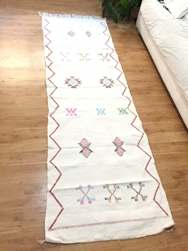 Cactus Silk Runner, Moroccan sabra carpet (8.2 x 2,4 ft) Cactus Rug Moroccan Boho Moroccan Style Runner White runner