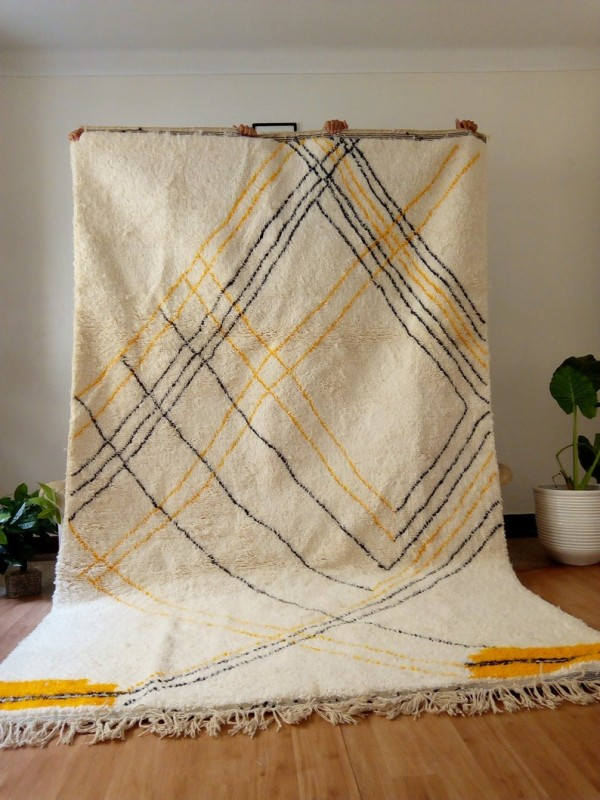 Moroccan hand woven style - Orange black lines - authentic hand woven Moroccan rug - Wool