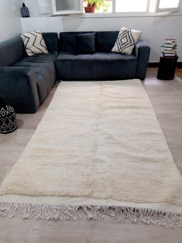 Beni Ourain Style - Uni Color - Tribal Rug - Shag Pile  - Wool - 266 X 150cm