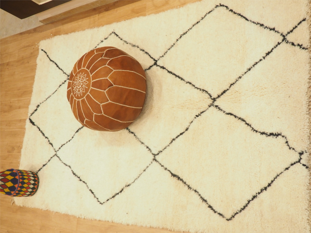 Moroccan Hanwoev Handmade Handcrafted Rug Pouf